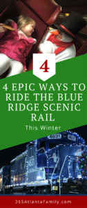 Riding the Blue Ridge Scenic Railway is the perfect way to celebrate the holidays this winter! Your whole family will love these 4 events and different ways to ride the train. The Santa Express will be magical for kids and an experience they will cherish forever. These are even great for teenagers and a fun Christmas tradition to start with your family. The lights on the train, the goodies, and the scenery are sure to please. #Christmas #train #Santa #lights #family #holidays #kids